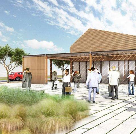 Aménagement des espaces extérieurs d'un restaurant inter-entreprise