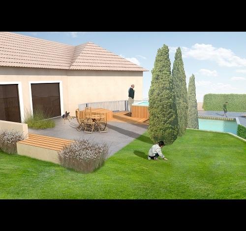 Terrasse autour d'une piscine
